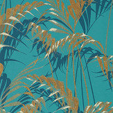Sanderson Palm House Teal / Gold Wallpaper