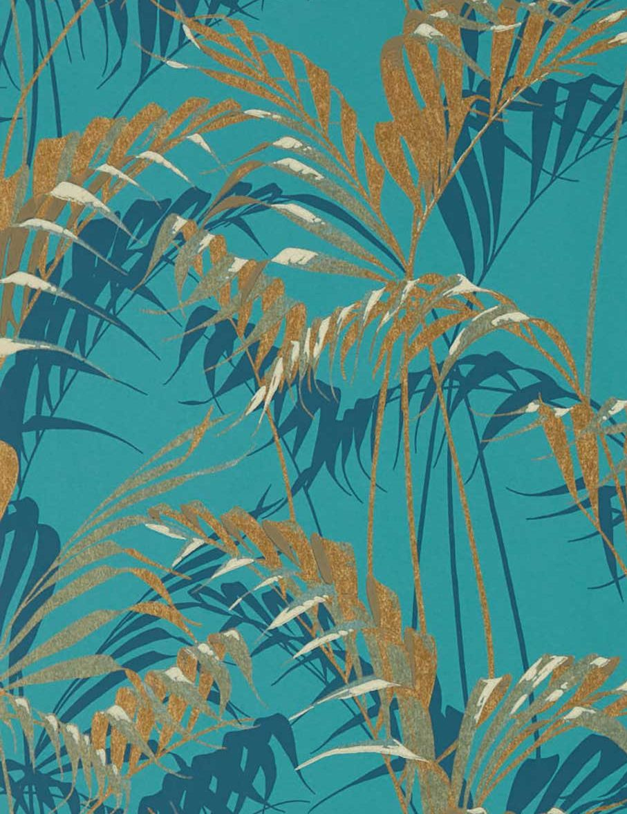 Sanderson Palm House Teal / Gold Wallpaper main image