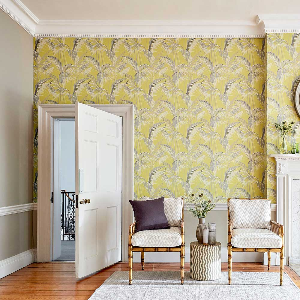 Sanderson Palm House Chartreuse / Grey Wallpaper - Product code: 216642
