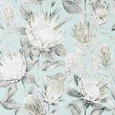Sanderson King Protea Aqua / Linen Wallpaper