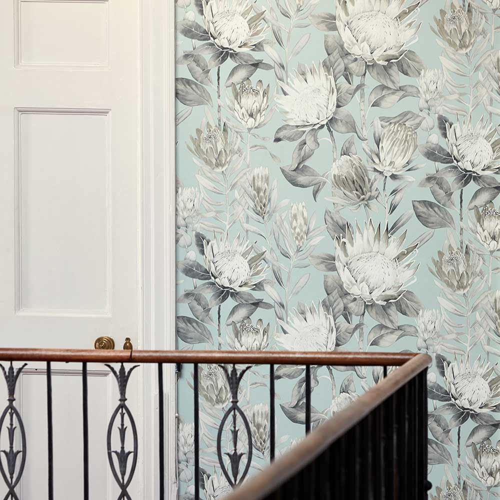 Sanderson King Protea Aqua / Linen Wallpaper - Product code: 216645
