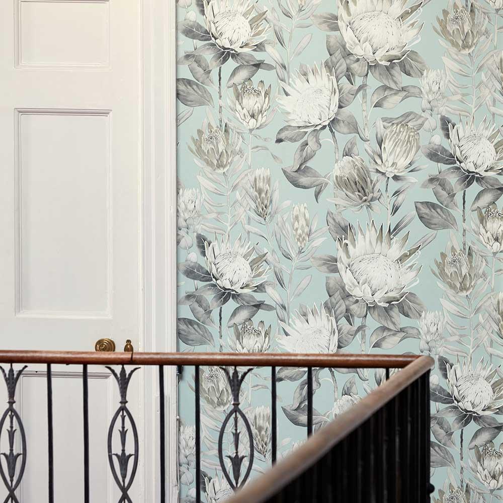 Sanderson King Protea Aqua / Linen Wallpaper extra image