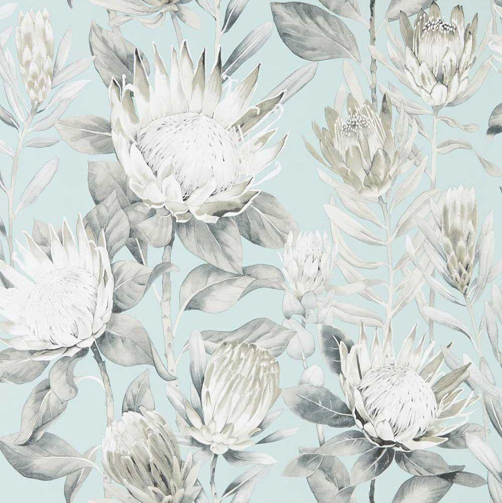 Sanderson King Protea Aqua / Linen Wallpaper main image