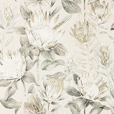 Sanderson King Protea Linen / Mica   Wallpaper