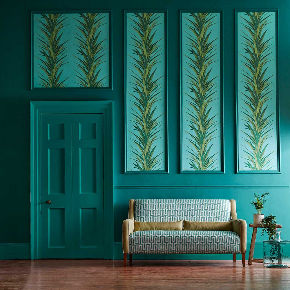 Sanderson Yucca Sky / Green Wallpaper - Product code: 216648