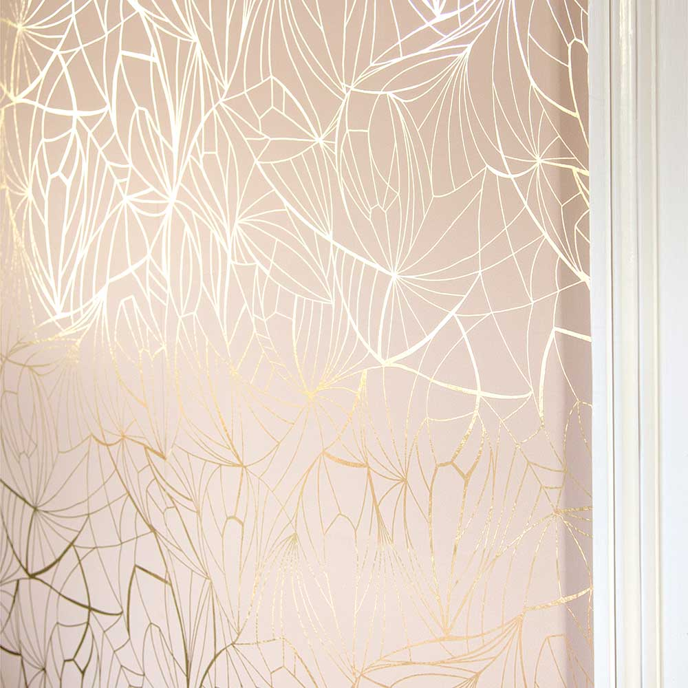 Leaf Wallpaper - Gold / Nude - by Erica Wakerly