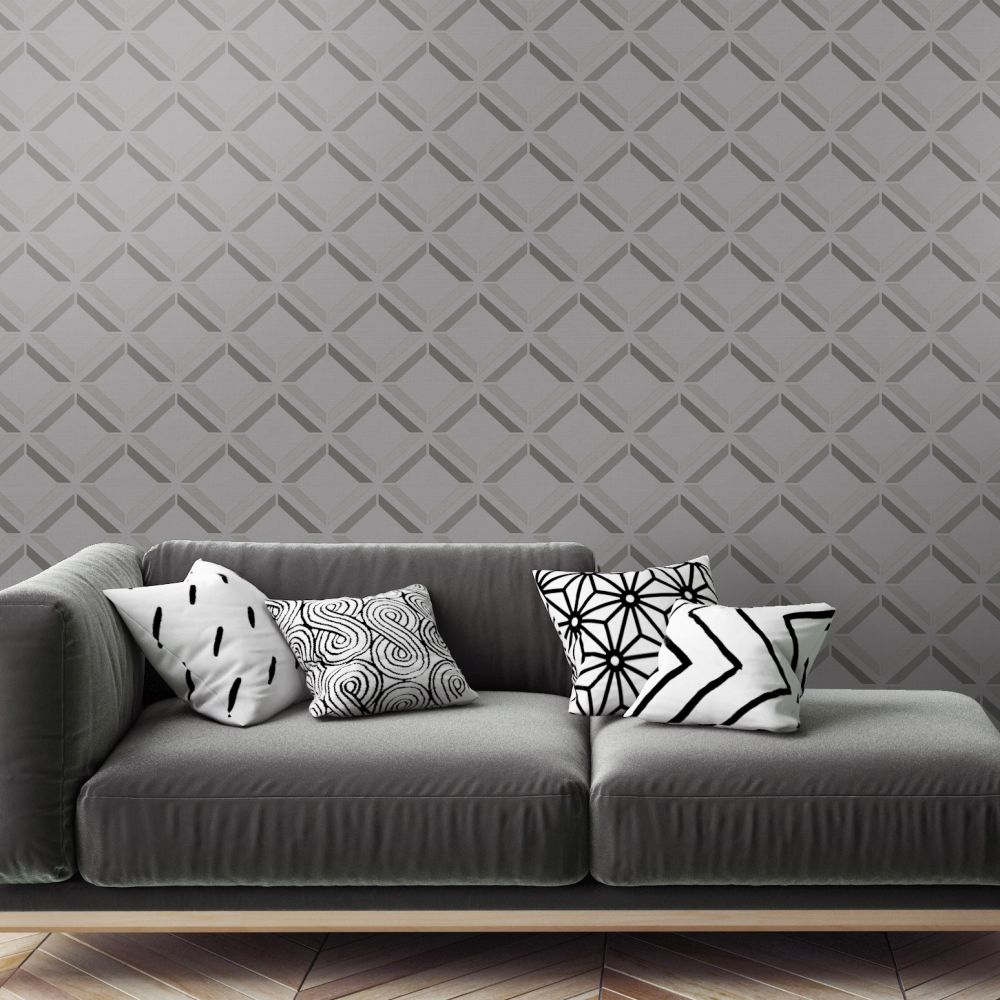 Lana Geo Wallpaper - Grey - by Albany