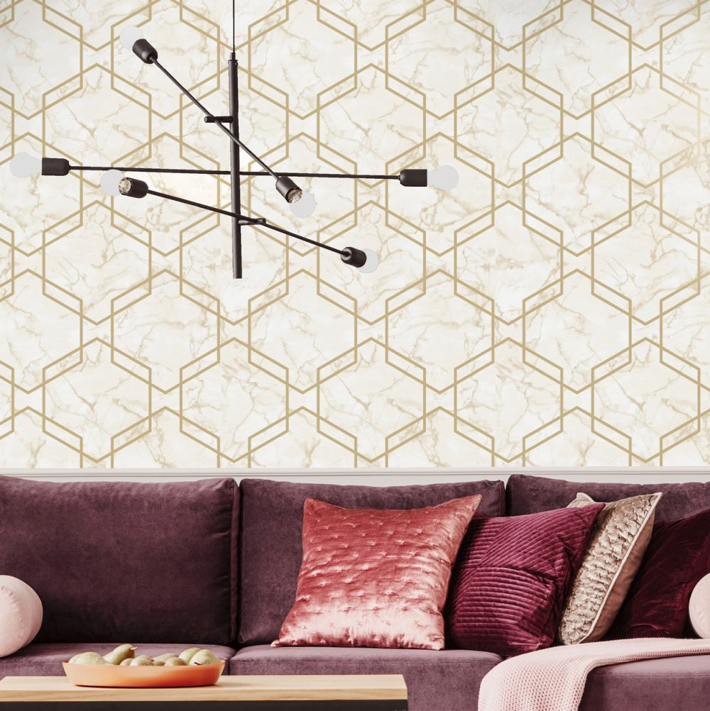 Albany Ventura Beige and Gold Wallpaper - Product code: 90602