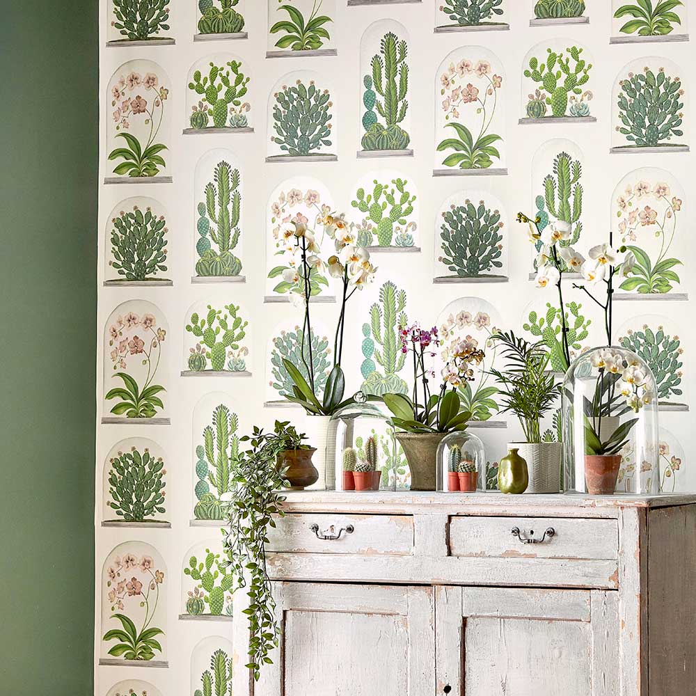 Sanderson Terrariums Chalk / Green Wallpaper extra image