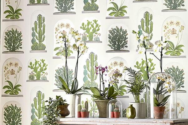 Sanderson Terrariums Chalk / Green Wallpaper