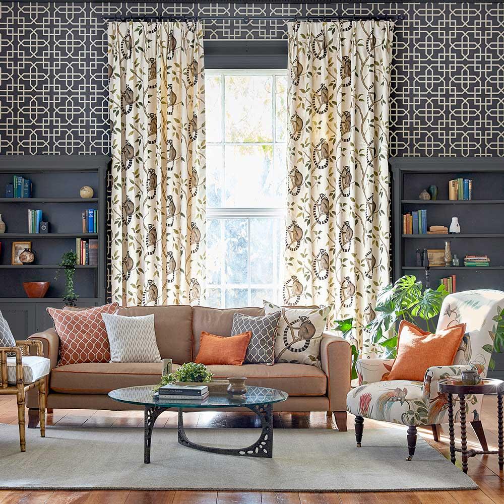 Hampton Trellis Wallpaper - Charcoal - by Sanderson