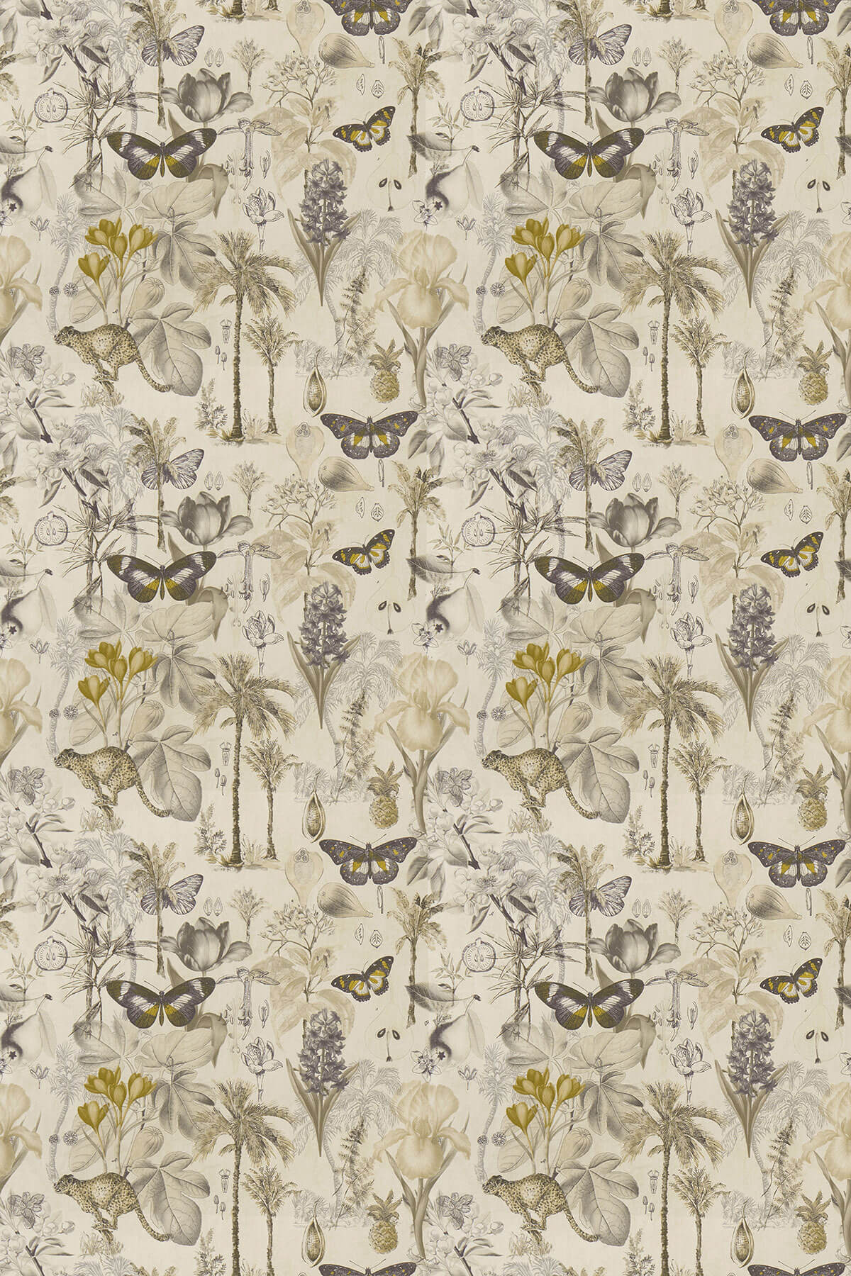 Clarke & Clarke Botany Charcoal / Chartreuse Fabric - Product code: F1297/01