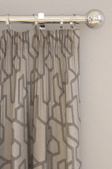 Clarke & Clarke Labyrinth Charcoal Curtains - Product code: F1300/01