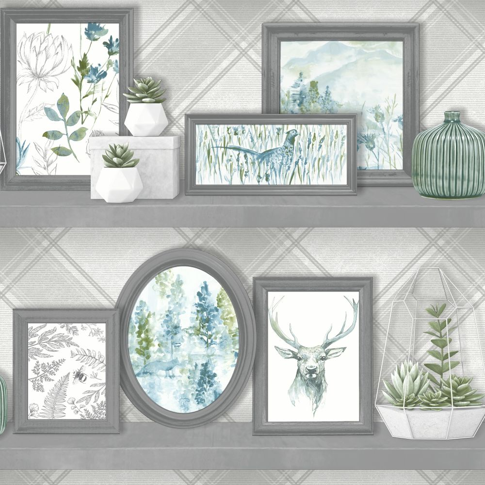 Albany Aberfeldy Grey and Teal Wallpaper main image
