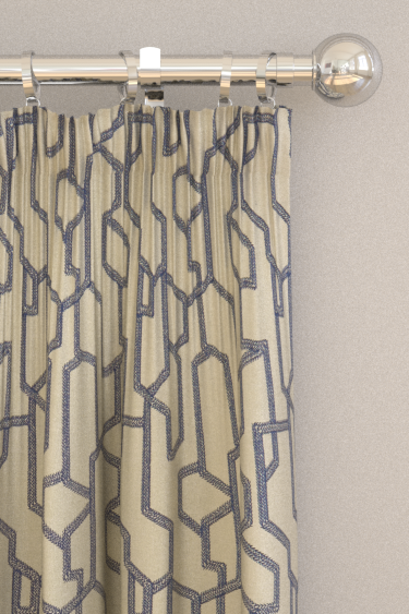 Clarke & Clarke Labyrinth Midnight Curtains - Product code: F1300/04