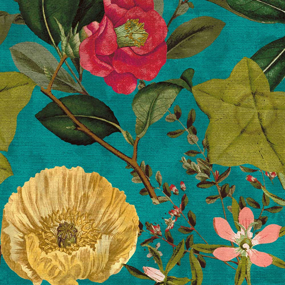 Passiflora Fabric - Kingfisher - by Clarke & Clarke