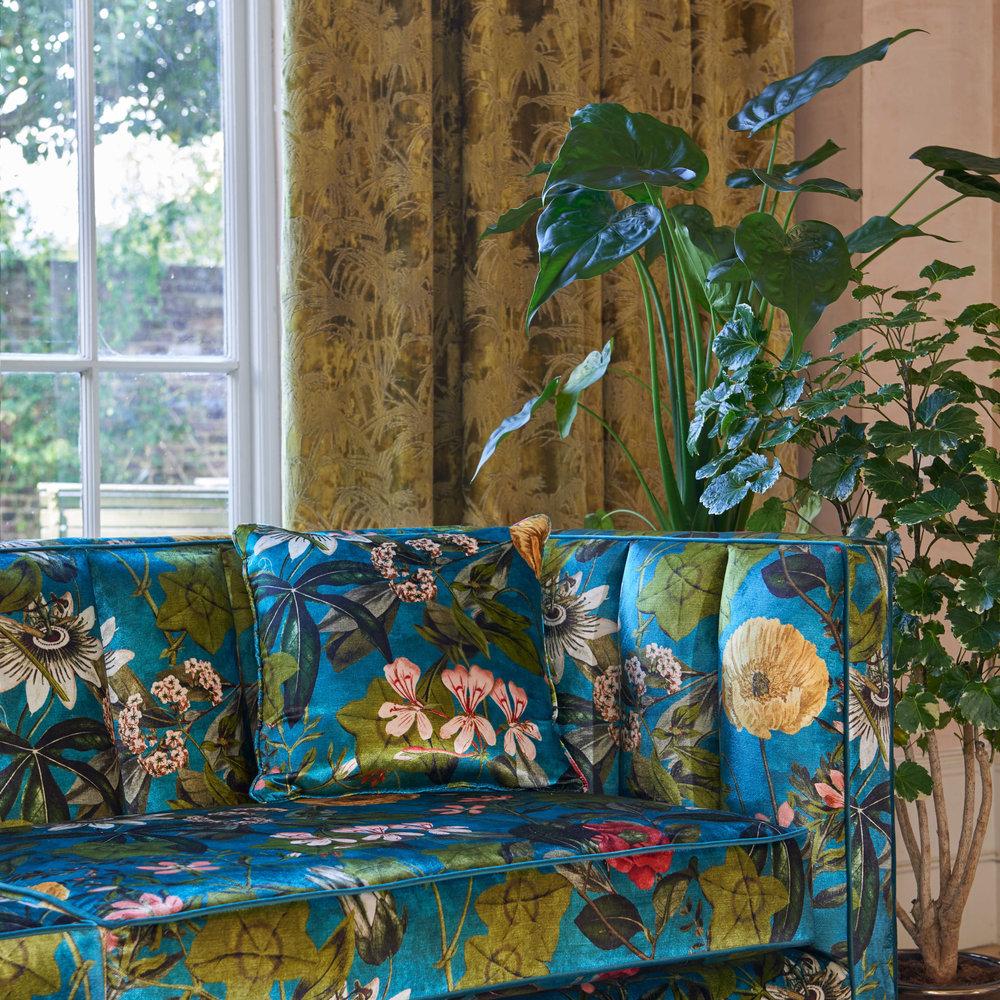 Clarke & Clarke Passiflora Kingfisher Fabric - Product code: F1304/02