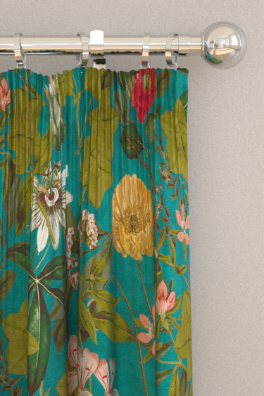 Clarke & Clarke Passiflora Kingfisher Curtains - Product code: F1304/02