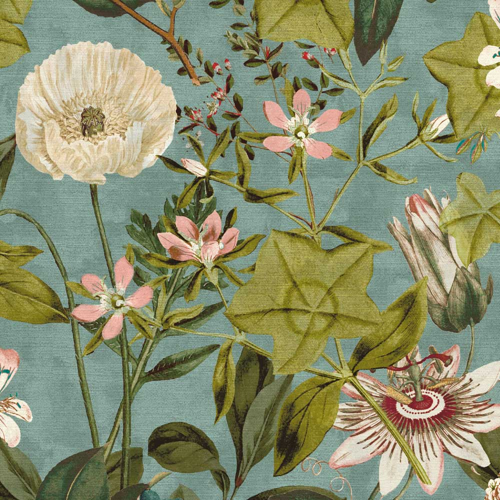 Clarke & Clarke Passiflora Mineral / Blush Fabric - Product code: F1304/04