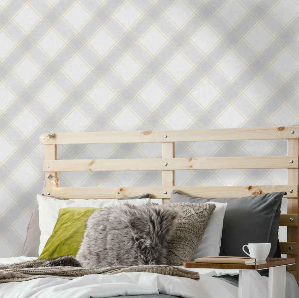 Albany Ainsley Yellow and Grey Wallpaper - Product code: 90641