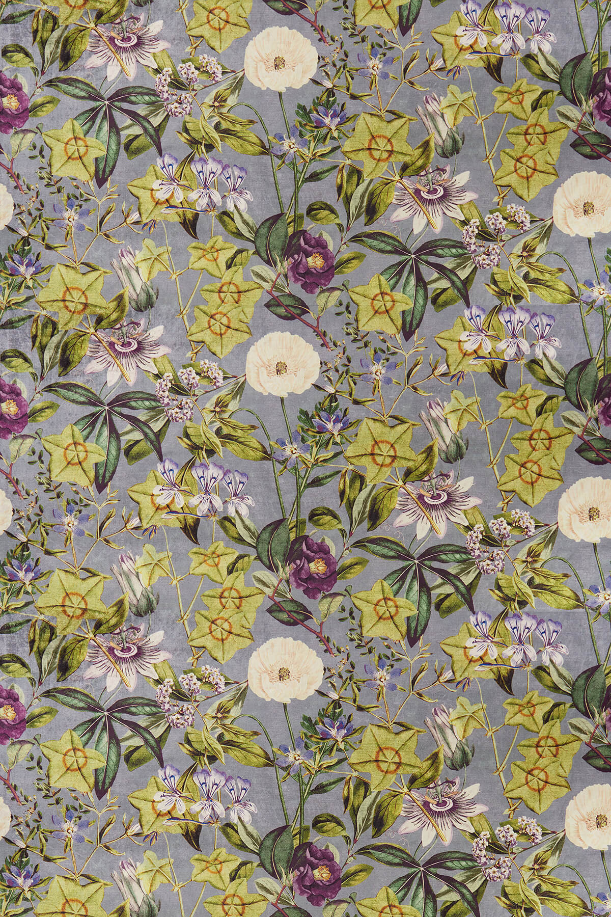 Passiflora Fabric - Slate / Amethyst - by Clarke & Clarke