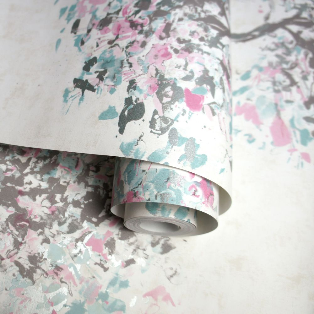 Albany Beacon Fell Duck egg and Pink Wallpaper - Product code: 90652