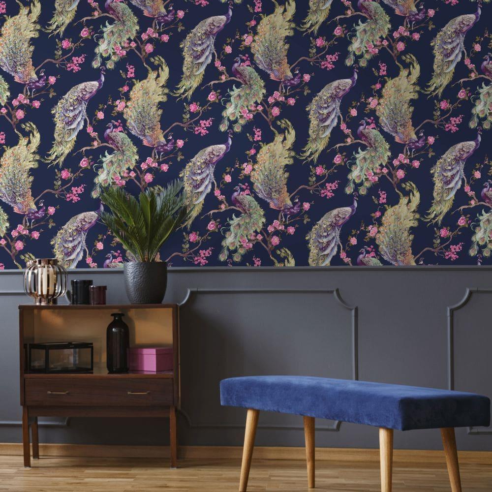 Sana Wallpaper - Navy - by Albany