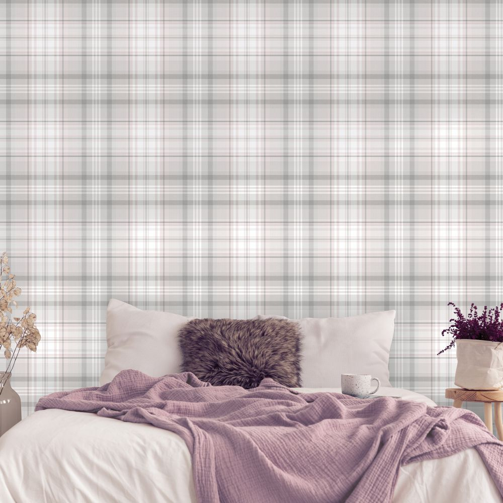 Patterdale Wallpaper - Pink and Grey - by Albany