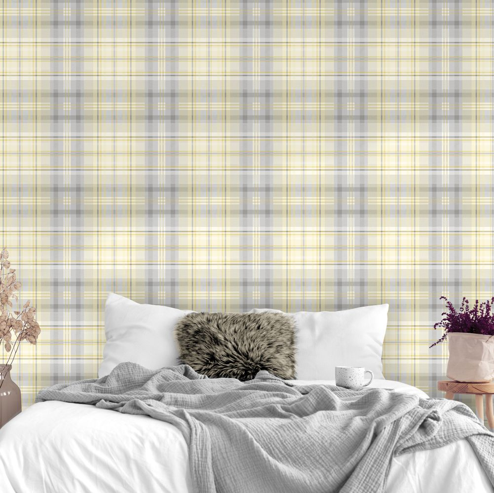 Patterdale Wallpaper - Yellow and Grey - by Albany