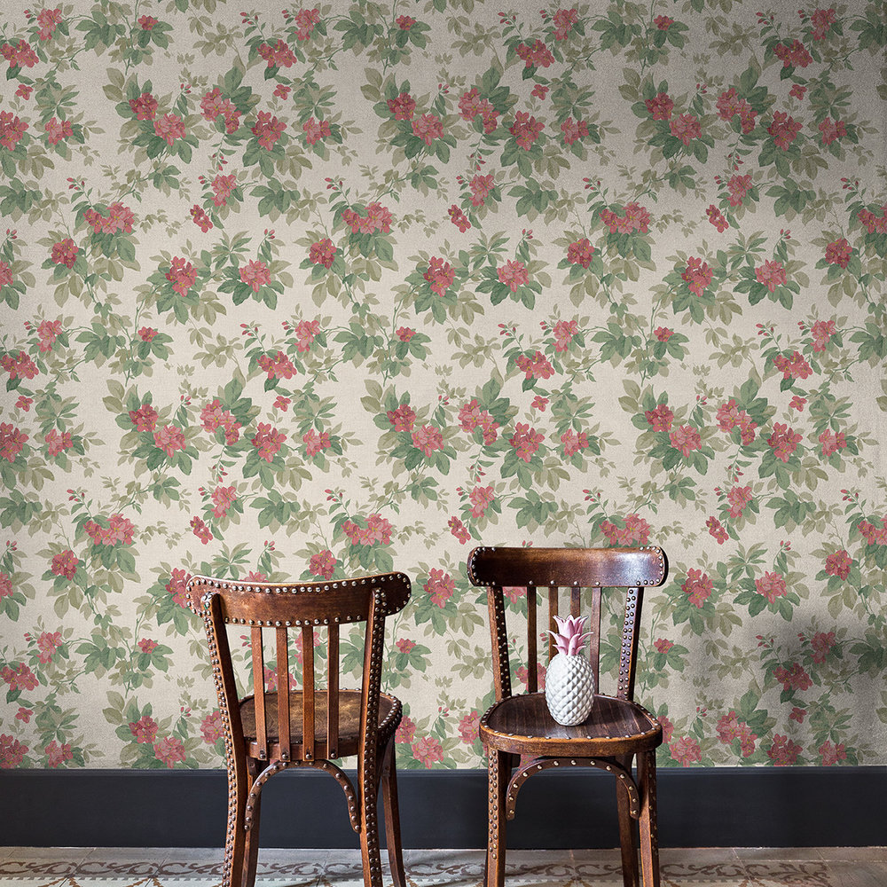 Coordonne Silene Green / Red Wallpaper - Product code: 7800102