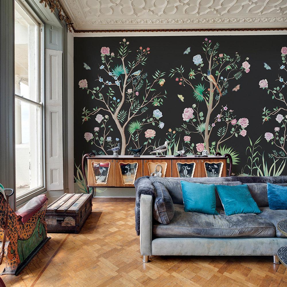 Peonies Mural - Coal - by Coordonne