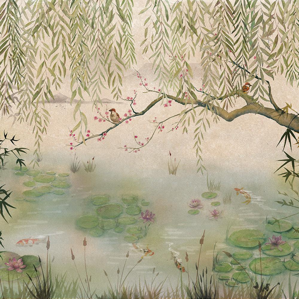 Lotus Mural - Aloe - by Coordonne