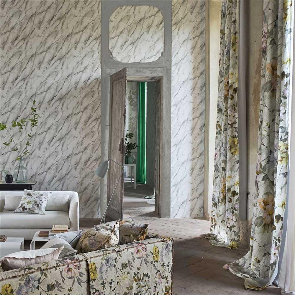 Carrara Grande Wallpaper - Charcoal - by Designers Guild