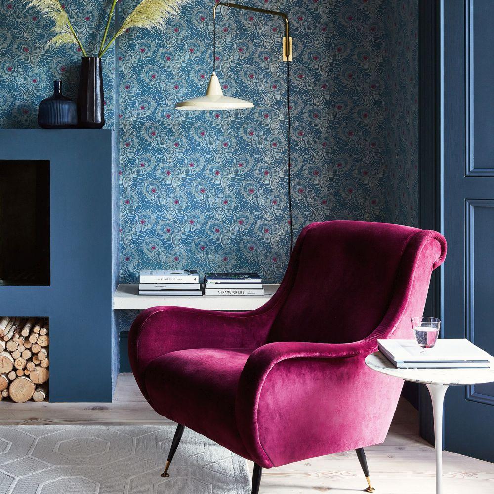 Little Greene Carlton House Terrace Blue Plume Wallpaper - Product code: 0256CTBLUEP