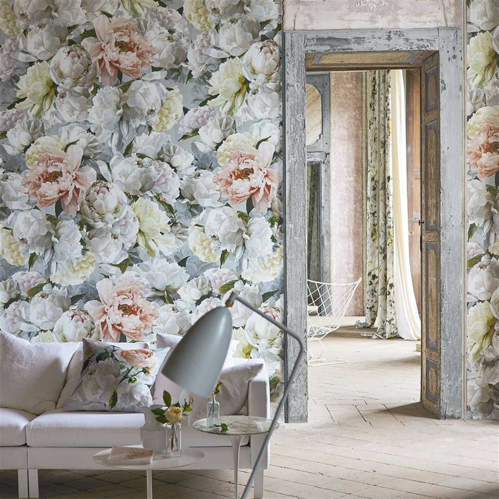 Peonia Grande Mural - Zinc - by Designers Guild
