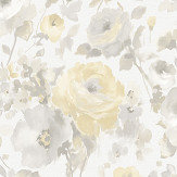 Albany Rose Floral Grey / Yellow Wallpaper