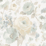 Albany Rose Floral Beige / Grey Wallpaper