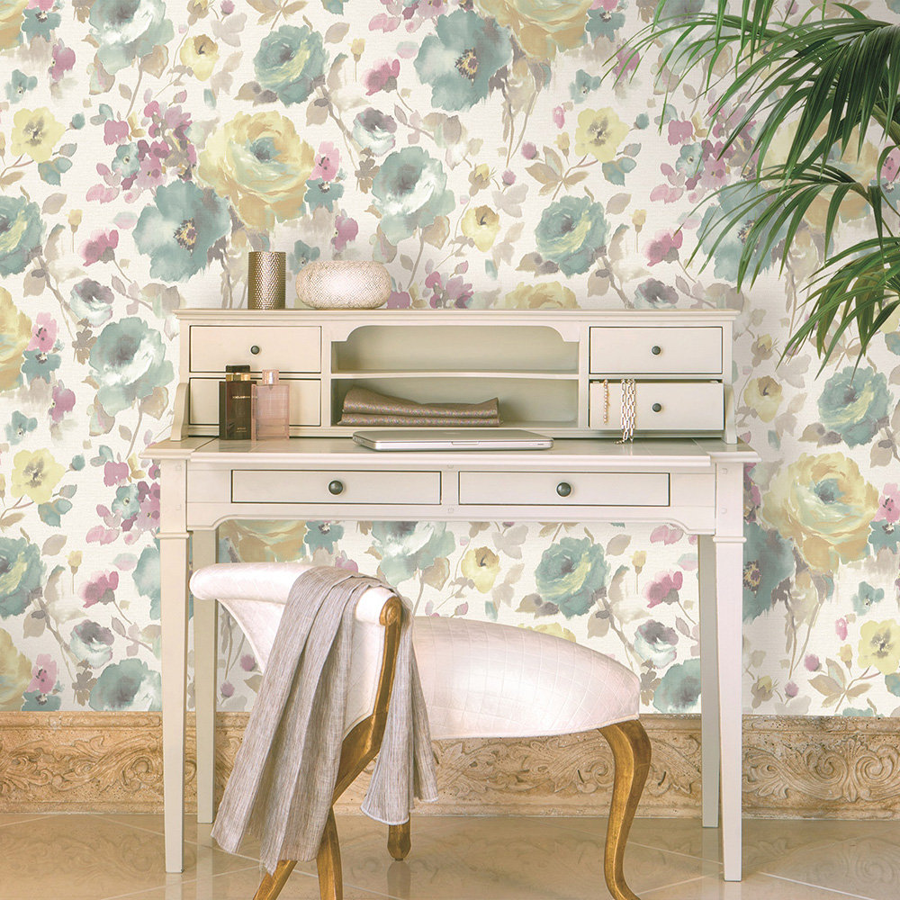 Rose Floral Wallpaper - Multi-coloured - by Albany