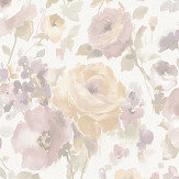Albany Rose Floral Apricot  / Pink Wallpaper