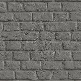 Metropolitan Stories Brick Wall Charcoal Grey Wallpaper