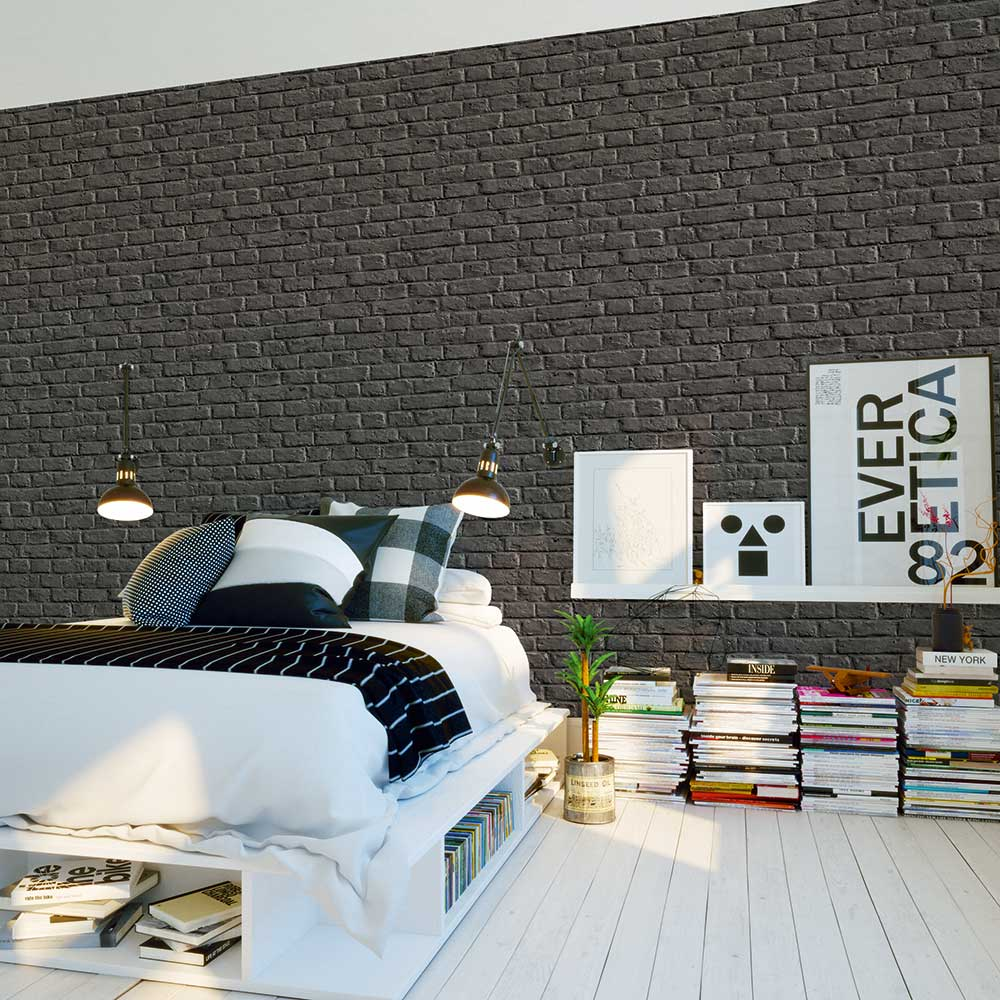 Brick Wall Wallpaper - Charcoal Grey - by Metropolitan Stories