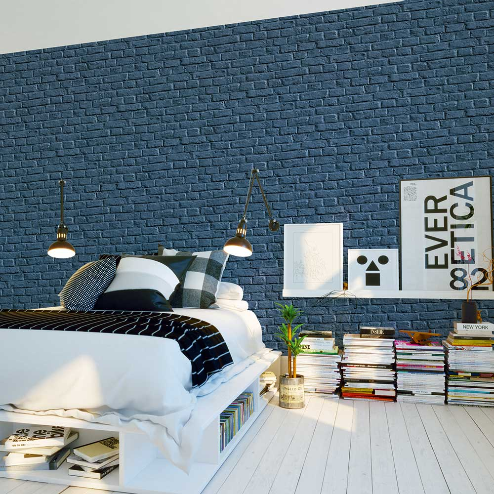 Metropolitan Stories Brick Wall Blue Wallpaper - Product code: 36912-3