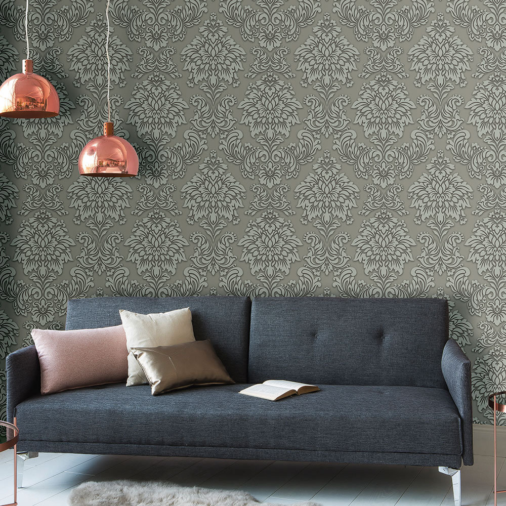 Contemporary Damask Wallpaper - Grey - by Metropolitan Stories