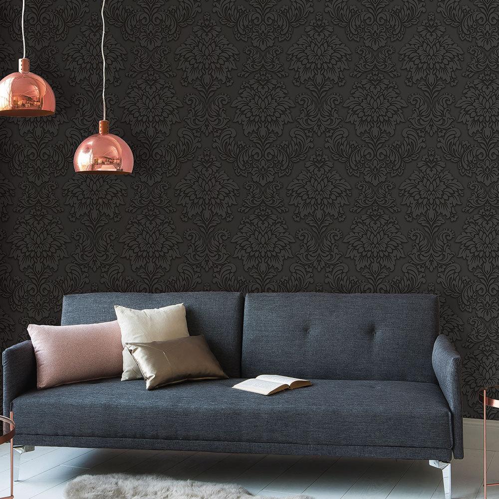 Metropolitan Stories Contemporary Damask Black Wallpaper - Product code: 36898-4