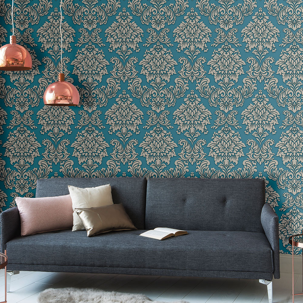 Metropolitan Stories Contemporary Damask Teal Wallpaper - Product code: 36898-5