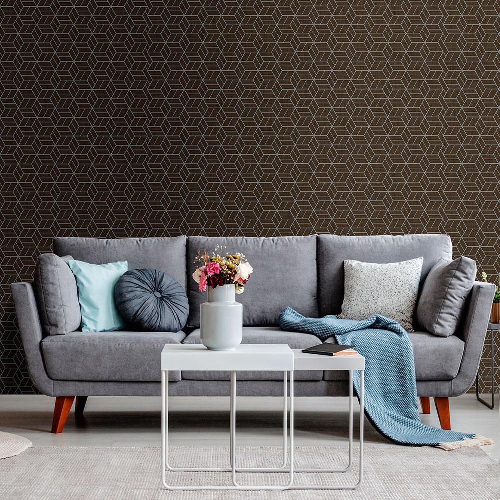 Metropolitan Stories Geo Hexagon Chocolate Wallpaper - Product code: 36920-1