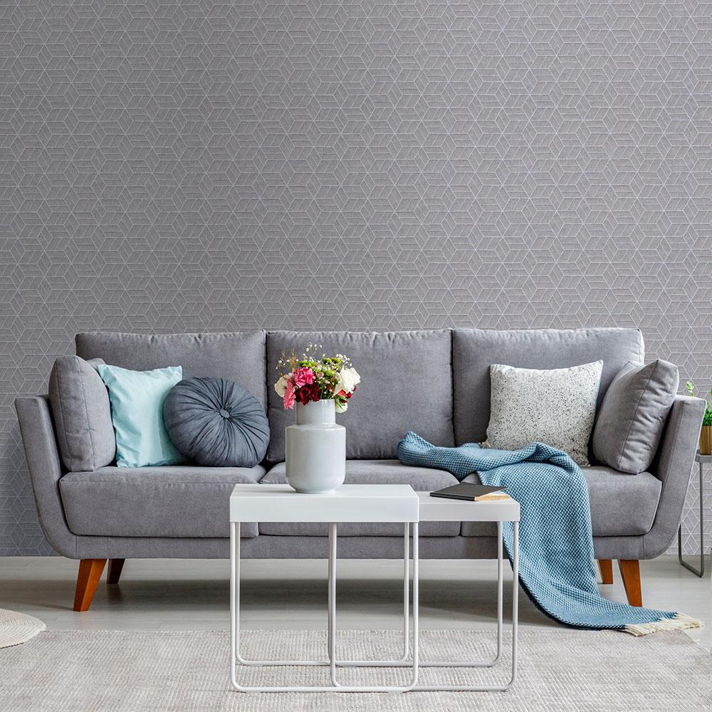 Metropolitan Stories Geo Hexagon Silver Grey Wallpaper - Product code: 36920-4