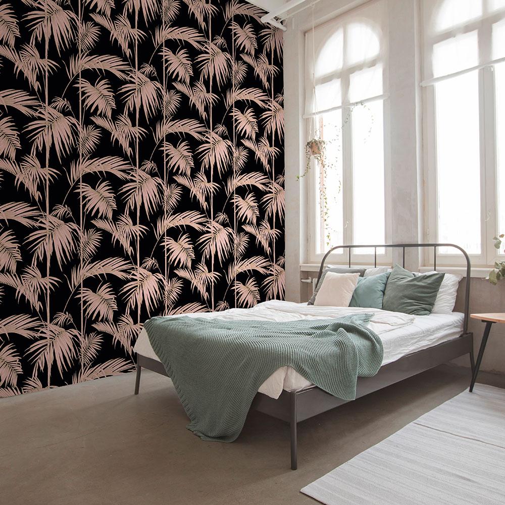 Metropolitan Stories Palm Black / Blush Wallpaper - Product code: 36919-1