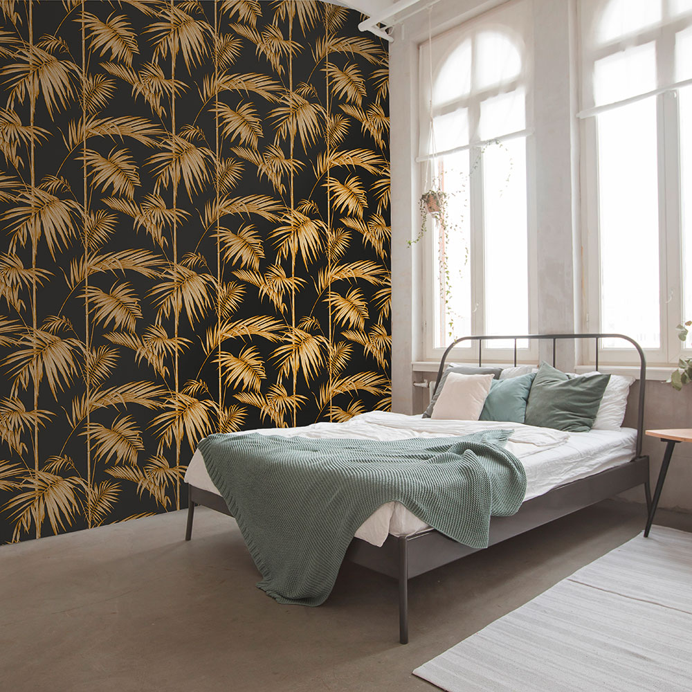 Metropolitan Stories Palm Black / Gold Wallpaper - Product code: 36919-5
