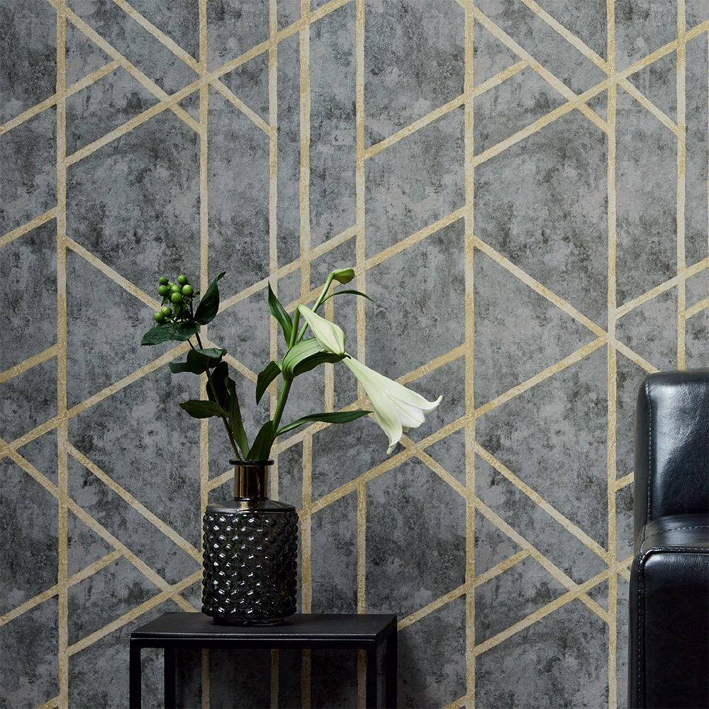 Metropolitan Stories Geometric Charcoal Grey Wallpaper - Product code: 36928-1